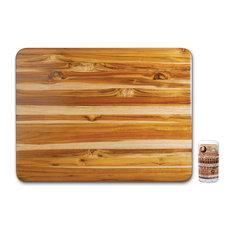 Proteak Edge Grain Teak 24x18 Inch Hand-Grip Cutting Board with Seasoning Stick