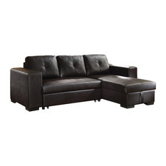ACME Lloyd Sectional Sofa With Sleeper, Black Faux Leather