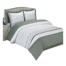 Amalia Cotton Embroidered Duvet Cover Set, Gray and White, King/Cal King