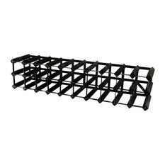Classic 30-Bottle Wine Rack, Black Steel and Black Stained Wood