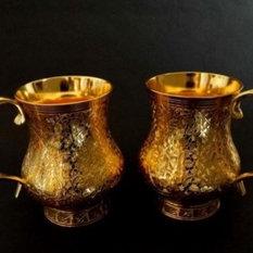 Golden brass beer mug