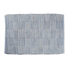 DII Blue Squares Recycled Yarn Rug 2'x3'