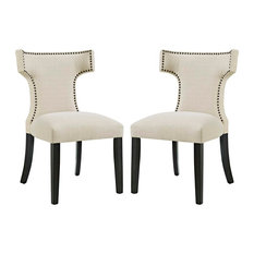 Curve Dining Side Chairs Upholstered Fabric Set of 2, Beige