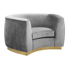 Julian Velvet Chair, Gray, Gold Base