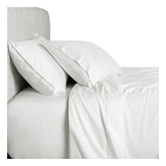 Bamboo 1500 Thread Count Solid Bed Sheet Set, White, Queen