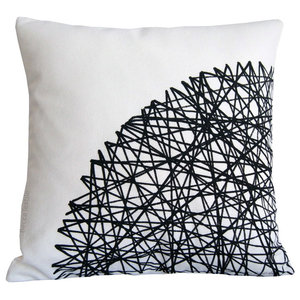 Monochrome Geometric Cushion, 40x40 cm