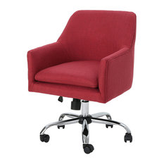 GDF Studio Morgan Fabric Home Office Chair With Chrome Base, Red