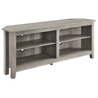 "58"" Transitional Wood Corner TV Stand, Gray Wash"