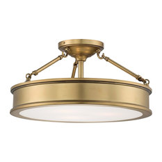Minka-Lavery Harbour Point Drum Shade Semi-Flush Mount, Liberty Gold