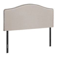Monarch Queen Linen Nailhead Trim Upholstered Panel Headboard In Beige