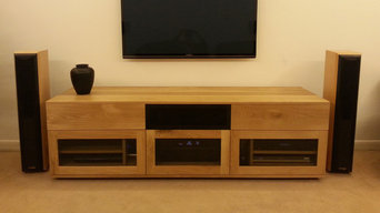 Contemporary oak custom AV unit