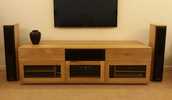 Contemporary oak custom AV unit
