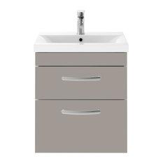 Wall-Hung Bathroom Vanity Unit, Stone Grey, 2 Drawers, Wide Rim Basin, 50 cm