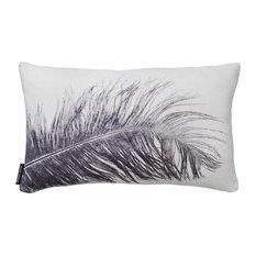 Feather Cushion, Grey, Rectangular