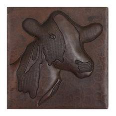 "Cow Design Hammered Copper Tile, 6""x 6"""