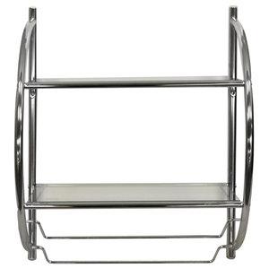 Curve 2-Tier Modern Metal and Glass Wall Mounted Shelf/Towel Rail, Silver