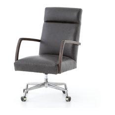 "41"" Tall Luce Desk Chair Stainless Steel Top Grain Leather High Back Sleek"