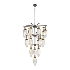 Asian  18 Light Chandelier in Oil Rubbed Bronze, Antique Brass Finish