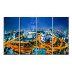 """Bangkok City"" Cityscape Photography Canvas Art Print, 48""x28"", 4-Piece"