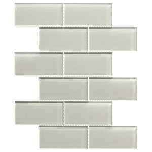 Flat Mosaic Wall Tiles, Bone, Set of 12