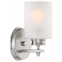 Wall Sconce/Wall Light Frosted Seeded Glass Shade, Brushed Nickel