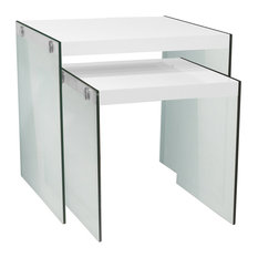 Nesting Tables, 2-Piece Set, Glossy White, Tempered Glass