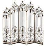 Brimfield & May - Metal 5 Panel Screen - Bring traditional style to your garden with this ornate brown metal garden gate with four hinged panels and a serpentine upper silhouette. The four iron panels boast ornate scrollwork with leaves and flowers and are each crowned with decorative finials for an elegant Victorian look. The earthy brown metal softens the look of this lovely garden arbor that will integrate seamlessly into any outdoor space.