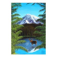 "Mike Bennett Moose At Mt. Rainier Art Print, 30""x45"""
