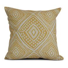 "Gold Lil' Diamond Jil, Geometric Print Pillow, 18""x18"""