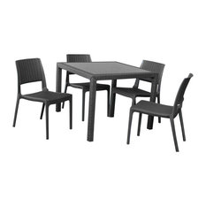 Miami Wickerlook Square Dining 5 Piece Set With Side Chairs, Dark Gray