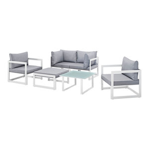 urban contemporary furniture. Modern Urban Contemporary Outdoor Patio Sectional Sofa Set, White Gray Fabric By Modway Wonderful Furniture
