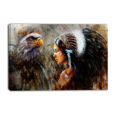 """""""Indian Woman With Feather Headdress"""" Indian Canvas Artwork, 40""""x30"""""""