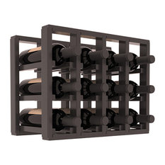 Pine 12-Bottle Countertop Wine Rack, Black Stain/Satin Finish
