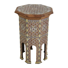 Badia Design Inc. - Moroccan White Bone Inlay Side Table, Large - Side Tables and End Tables