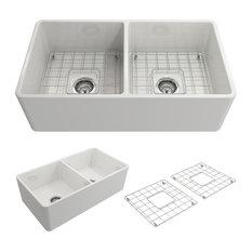 "Bocchi - Sanikey USA Inc - Classico Farmhouse Kitchen Sink With Grid and Strainer, White, 33"" - Kitchen Sinks"