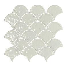 "12""x12"" Glazed Ceramic Fan Mosaic Tile, Liight Gray"