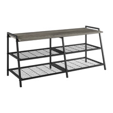 "42"" Industrial Metal and Wood Entry Bench, Gray Wash"