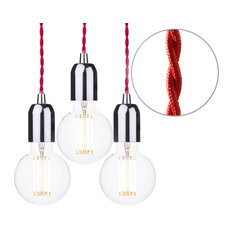Red Braided Cable Kit, Set of 3, Clear 6 Watt Led Filament Globe Bulb