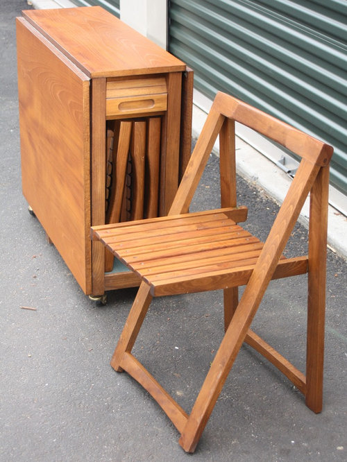 Vintage Teak Foldable Table And 4 Folding Chairs
