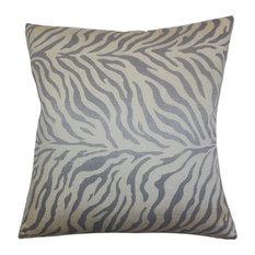 "Helaine Zebra Print Pillow Slate 18""x18"""