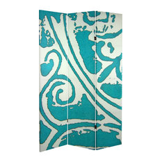 6' Tall Double Sided Teal Vineyard Canvas Room Divider