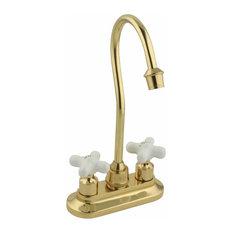 Gooseneck Bar Faucet Heavy Cast Brass Cross Handles |