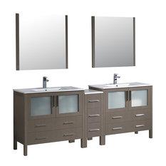 "Torino 84"" Gray Oak Double Sink Bathroom Vanity, Side Cabinet, Integrated Sinks"