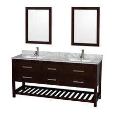 "Natalie 72"" Double Bathroom Vanity Espresso White Carrera Marble Top, Square Sin"
