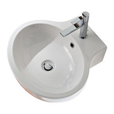 Oval White Ceramic Wall Mounted or Vessel Bathroom Sink, One Hole