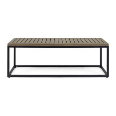 GDF Studio Drew Outdoor Industrial Acacia Wood and Iron Bench, Gray Finish