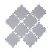 "9.37""x9.76"" Arabesque Mosaic Tile, Gray, Set of 10"