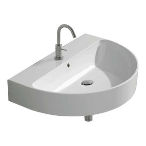 "Modern Wall Mounted Vessel Sink, 19.6""x14.5""x4.7"", 27 lbs."
