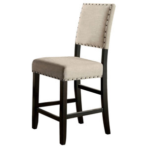 Sania Ii Rustic Counter H Chair, Black Finish, Set of 2