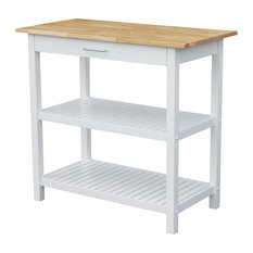Kitchen Island With Solid Wood Top, White